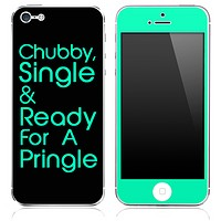 Trendy Green/Black Chubby, Single and Ready for a Pringle Skin for the iPhone 3gs, 4/4s, 5, 5s or 5c