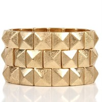 Gold Pyramid Stretch Bracelet