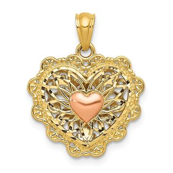 14k Yellow and White Gold Yellow & Rose Gold w/Rhodium Reversible Filigree Heart Pendant Length 20mm