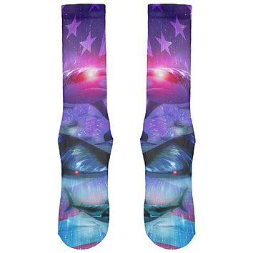 July 4th Patriotic American Galaxy Laser Sharks All Over Soft Socks