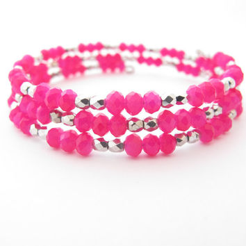 Hot Pink and Silver Memory Wire Stretch Bracelet