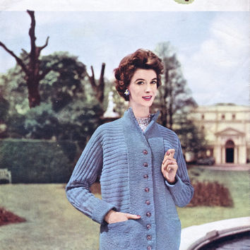 Original 1950's Knitting Pattern - Women's Box Coat Cardigan Jacket - Lavenda Hand Knit 494 - Vintage Pattern