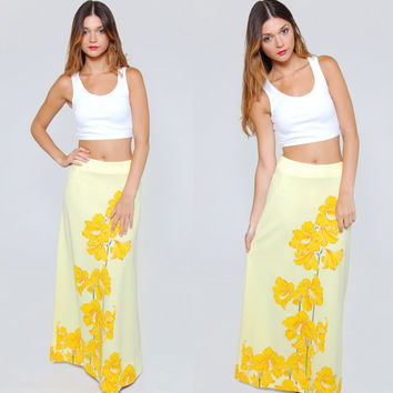 Vintage 70s ALFRED SHAHEEN Maxi Skirt Yellow TROPICAL Floral Print Retro Maxi Skirt