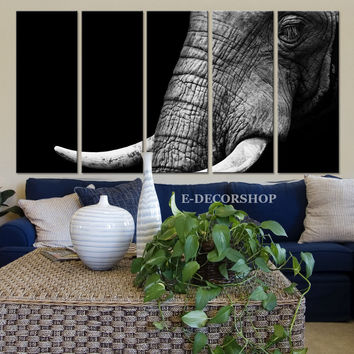 Large Wall Art Print Set | Art Print Animal | Extra Large Big Elephant Wall Art Canvas Print | Art Painting 5 Panel