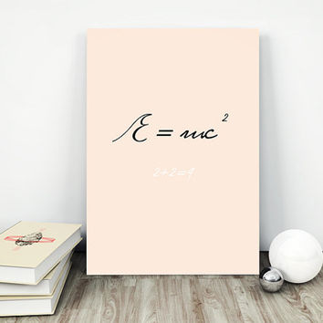Einstein poster — Physics poster, Science wall art, Letter wall art, Large wall prints, Typography wall art, Physics gifts, e mc2 poster