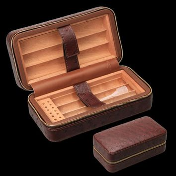 COHIBA Cigar Humidor in Cedar Wood With Crocodile Embossed Leather