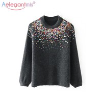Aelegantmis Fashion Rainbow Sequined Knitted Sweaters Women Chic Cashmere Sweater Pullovers Female Autumn Winter Casual Jumpers