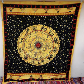 Black yellow zodiac horoscope astro tapestry, astrology tapestry, mandala tapestry, wall hanging, dorm decor, ceiling tapestry,large indian