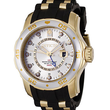 Invicta 6995 Men's Pro Diver Silver Tone Dial Gold Plated Stainless Steel Black Rubber Strap GMT Watch