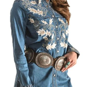 ICIKAB3 Vintage Collection Evan's Embroidered Western Shirt