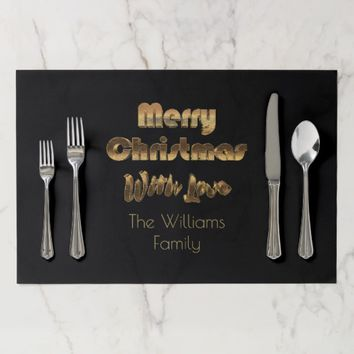 Merry Christmas With Love Your Family Name Gold Placemat