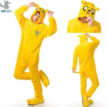 HKSNG New Adventure Time Animal Adult Unisex Jack Pajamas High Quality Cartoon Flannel Dog Kigurumi Onesuits Cosplay Costumes