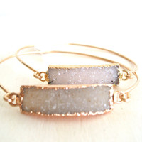 Sparkling druzy bangle pale cream pale taupe Gift for her Under 55 Vitrine Spring Fashion