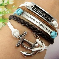 Fashion anchor rope believe infinity bracelet