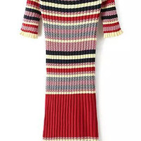 Red Striped Short Sleeve Knitted Midi Dress