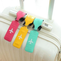 Jelly Color Cute Striped Style Leather Suitcase Travel Luggage Name Address List Leather Tag = 1714244740