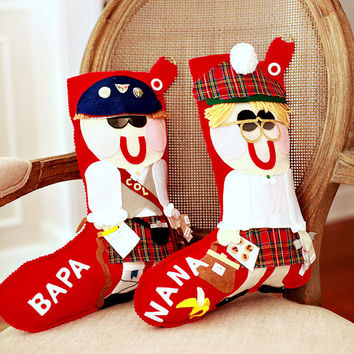 Personalized Christmas Stocking Grandparents - Grandma and Grandpa Custom Christmas Stockings