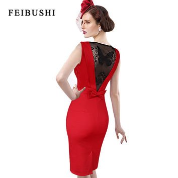 FEIBUSHI Women Summer Elegant Sexy Lace Female 50s 60s Retro Style Rockabilly Swing Wedding Party Dress Drop Ship