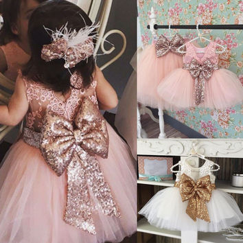 Kids Baby Girl Sequins Boknot Dress Cute Ball Gown Christmas Party Bridesmaid Formal Clothing Dresses Kids Baby Girls