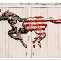 Running Horse Photograph - 8x10 MATTED fine art photo print rustic wall art rural country barn red white blue American flag shabby chic