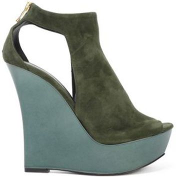 Cutout suede wedge sandals | BALMAIN | Sale up to 70% off | THE OUTNET