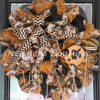 New Orleans Saints Wreath, Football Wreaths, Double Door wreaths, Outdoor Wreath, Fall Wreath, Door Hanger, Saints Football