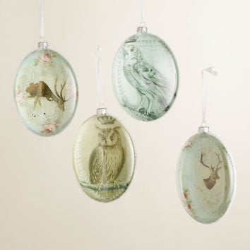 Deer and Owl Glass Disc Ornaments - World Market