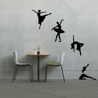 Ballet Dancers Silhouette Sports Theatre - Vinyl Wall Art Decal for Homes, Offices, Kids Rooms, Nurseries, Schools, High Schools, Colleges, Universities