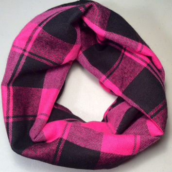 Handmade Infinity Scarf Plaid Flannel, Girl, Toddler, Child, Kid Size, Double Layer.  Pink and Black - Birthday Present, Gift