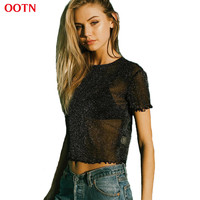 OOTN TX019 Knitted Mesh T Shirts Women Soft Comfortable Fabric Tee O-neck Fashion Mesh Tops Balck White 2017 Summer High Quality
