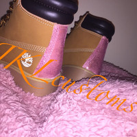 Customised hand-painted Timberland boots with *CANDY PINK* glitter.