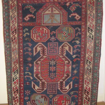 Exceptional Lenkoran Caucasian Rug, Prayer rug, UNUSUAL and RARE Antique Handmade rug