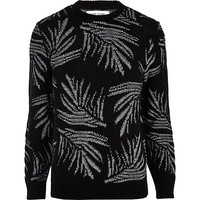 River Island MensBlack and white palm leaf print sweater
