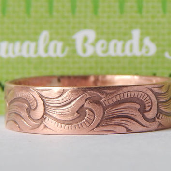 Rustic Copper Textured Band Ring with Scroll Design - Plain Copper Ring - Textured Copper Ring - Copper Ring Band - Copper Ring