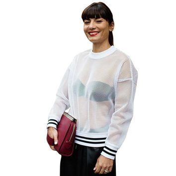T-shirts Classics Autumn Long Sleeve See Through Lace Blouse [109540835357]