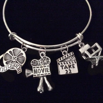 Director Actor Movies Expandable Charm Bracelet Adjustable Silver Bangle Movie  Reel Camera Play Gift