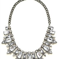 DaisyGem | Clear Rhinestone Crystal Jeweled Flower Drop Silver Gunmetal Bib Statement Necklace