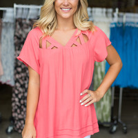 Hooked On You Tunic - Coral
