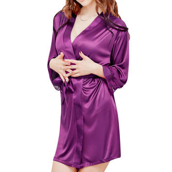 Fancy Autumn Women Nightgown Sleepshirts Satin Lace Patchwork Long Sleeve Soft Night Dress Sexy Lingerie Sleepwear Pijama Y1