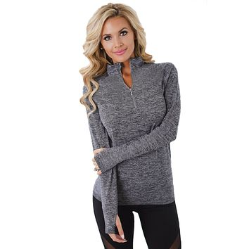 Chicloth Gray Zip up Long Sleeve Gym Yoga Top