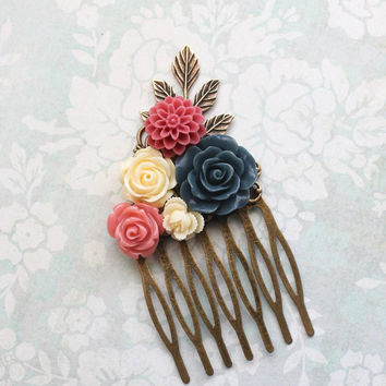 Bridesmaids Gift Navy Blue and Deep Pink Wedding Rose Hair Comb Floral Hair Accessories Bridal Hair Piece Flowers for hair Vintage Style