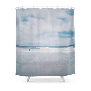 Society6 Vintage Beach. Playing With The Waves. Shower Curtains
