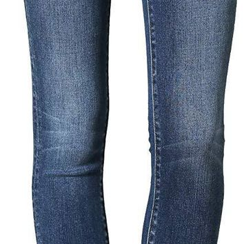 Flying Monkey Women's Mid Rise Crop Skinny Jeans in Medium Wash
