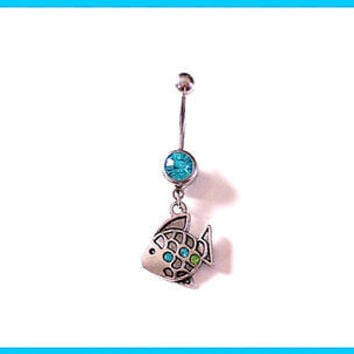 Fish Belly Ring with Blue Rhinestone Body Jewelry 14a