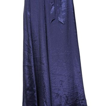 Owning It Satin Split Wrap Tie Waist Maxi Skirt - 2 Colors Available