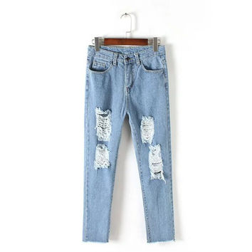 Korean Summer Women's Fashion Handcrafts Ripped Holes Denim Pants Cropped Pants [4920275652]