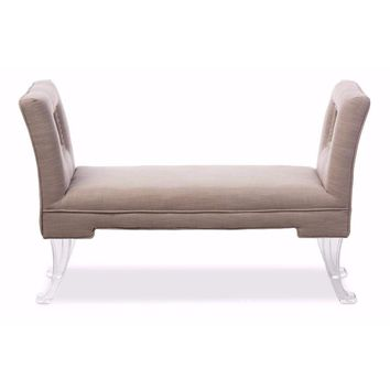 Beige Linen Upholstered Lux Flared Arms Ottoman Bench with Flared Acrylic Legs By Baxton Studio