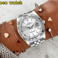 Rolex Fashionable Couple Casual Business Sport Movement Lovers Watch Silvery