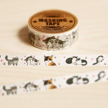 1.5CM Wide Cute Mewo Cat Animal Hand-Drawn Washi Tape DIY Scrapbooking Sticker Label Masking Tape School Office Supply