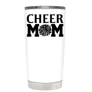 Cheer Mom Pom Pom on White 20 oz Tumbler Cup